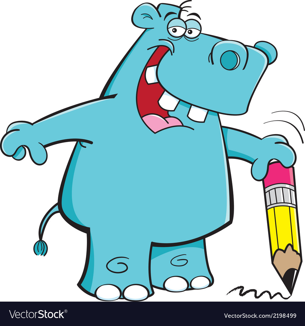 Cartoon student hippo vector | Price: 1 Credit (USD $1)