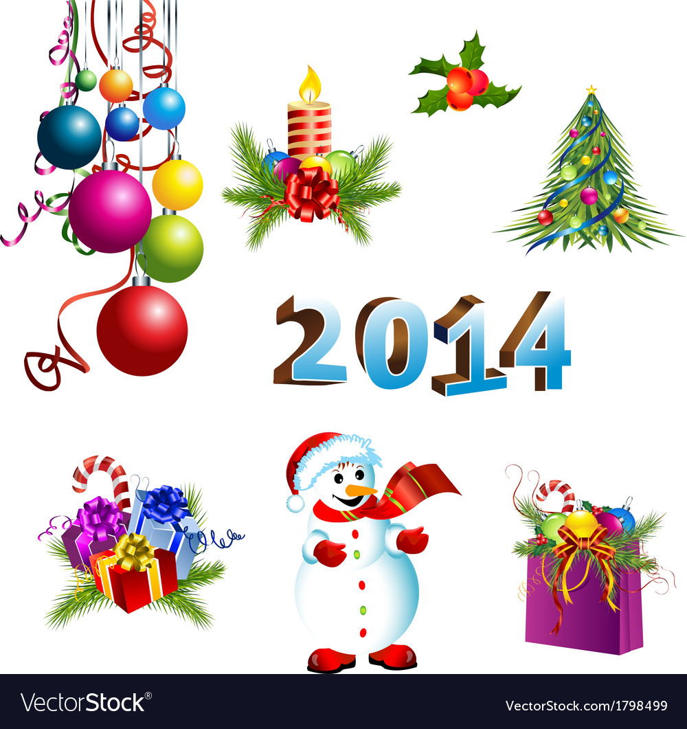 Christmas decoration template set vector | Price: 3 Credit (USD $3)