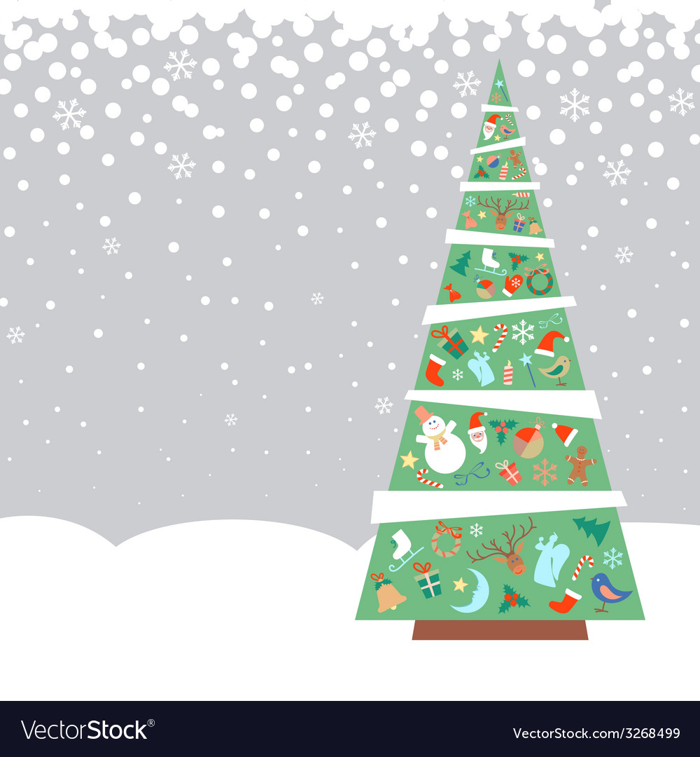 Christmas fir tree with decorations vector | Price: 1 Credit (USD $1)
