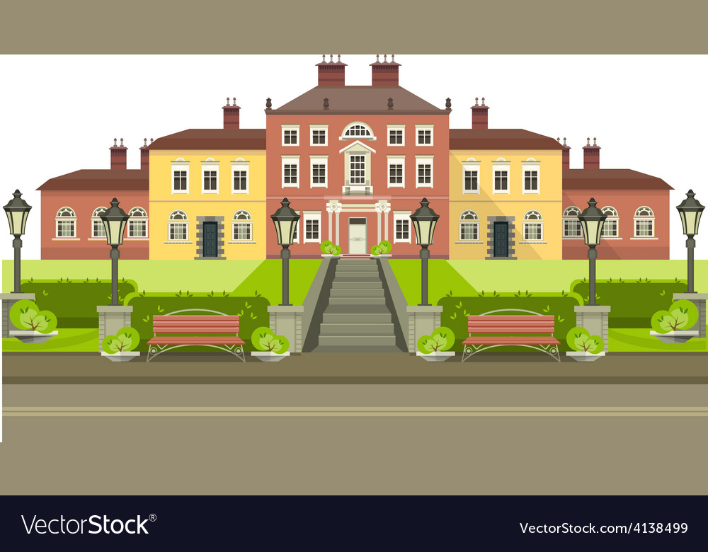 Country house with park vector | Price: 3 Credit (USD $3)