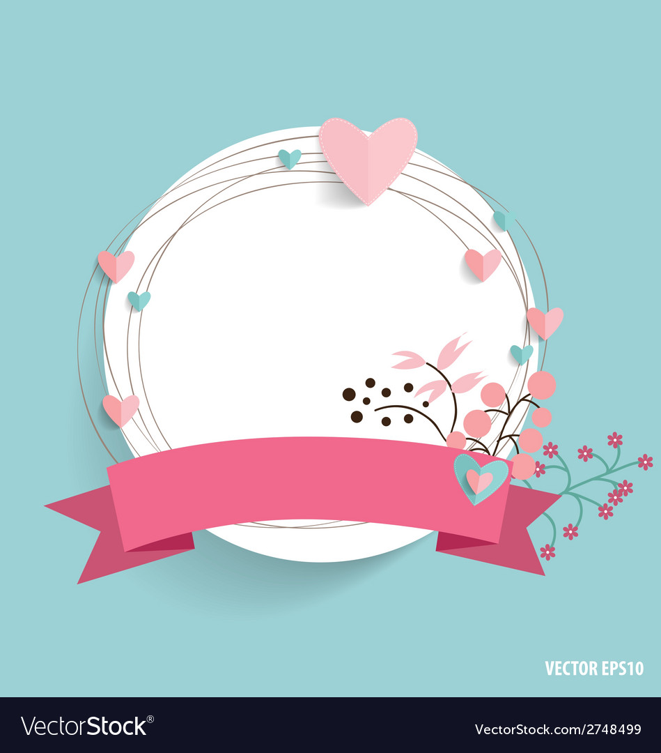 Cute card with ribbon heart and floral bouquets vector   Price: 1 Credit (USD $1)