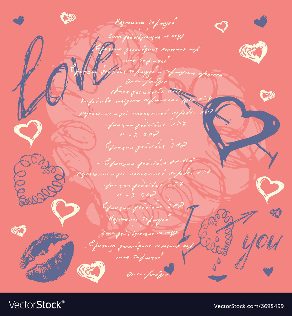 Doodle valentines day postcard with hand drawn vector | Price: 1 Credit (USD $1)