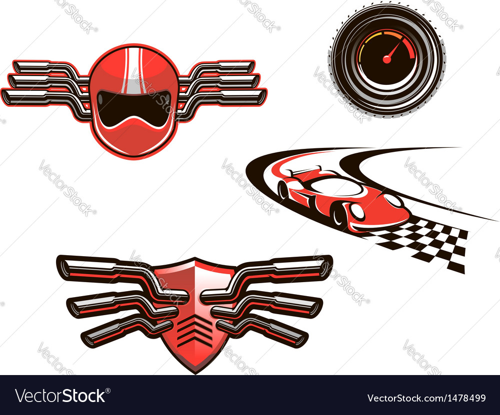 Elements and symbols of racing sport vector | Price: 1 Credit (USD $1)