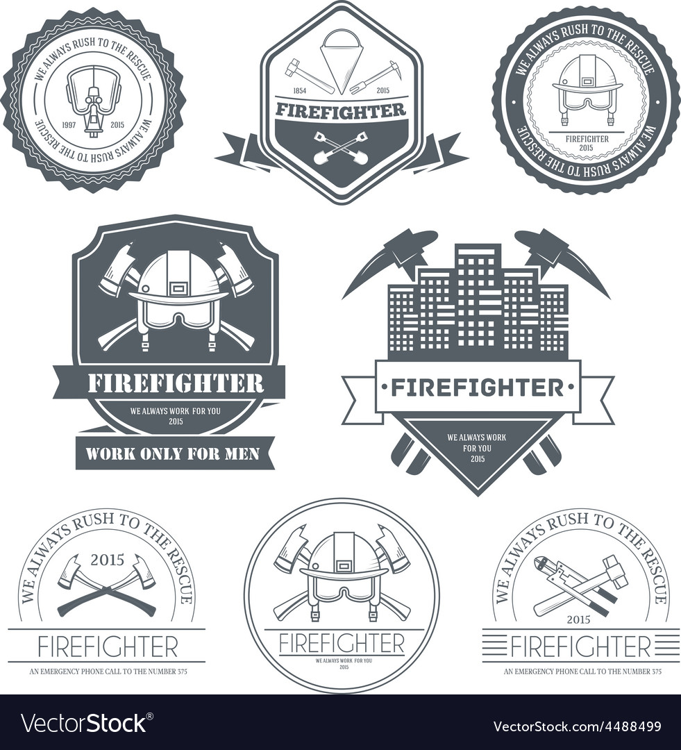 Firefighter label template of emblem element for vector | Price: 1 Credit (USD $1)