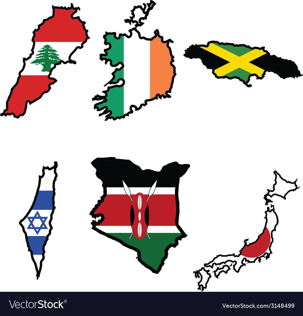 Flag in map of irelandjamaicajapankenyalebanon vector | Price: 1 Credit (USD $1)