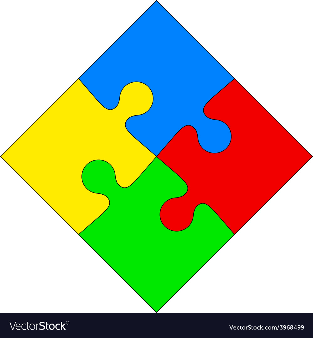 Four colored puzzle together vector | Price: 1 Credit (USD $1)