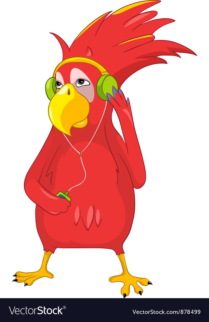 Funny parrot listening to music vector | Price: 1 Credit (USD $1)