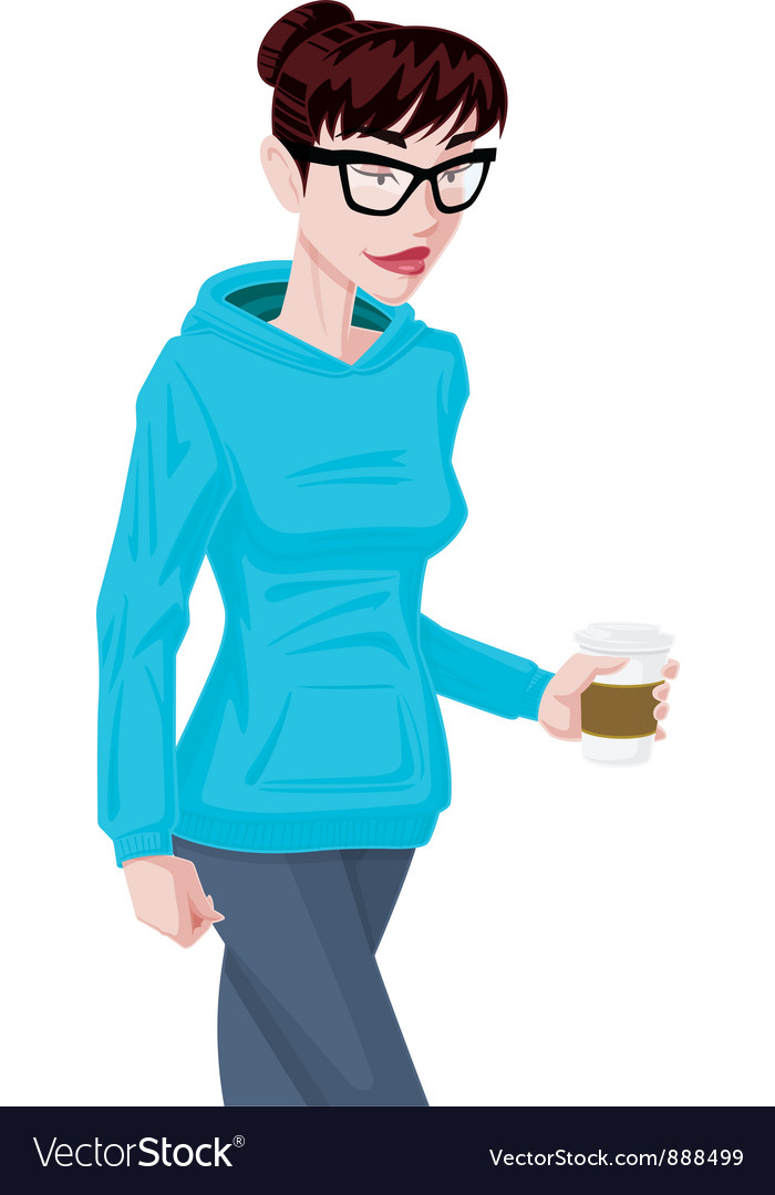 Girl in hoodie vector | Price: 3 Credit (USD $3)