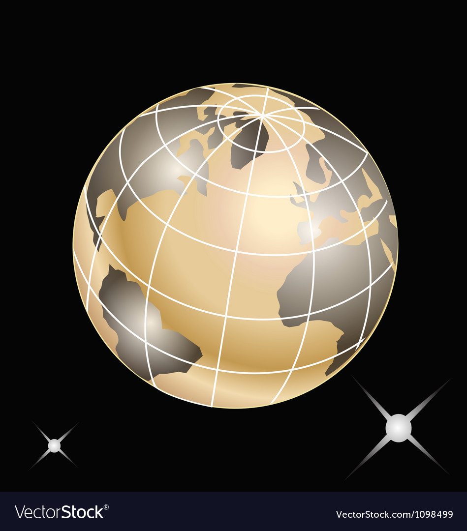 Golden planet earth vector | Price: 1 Credit (USD $1)