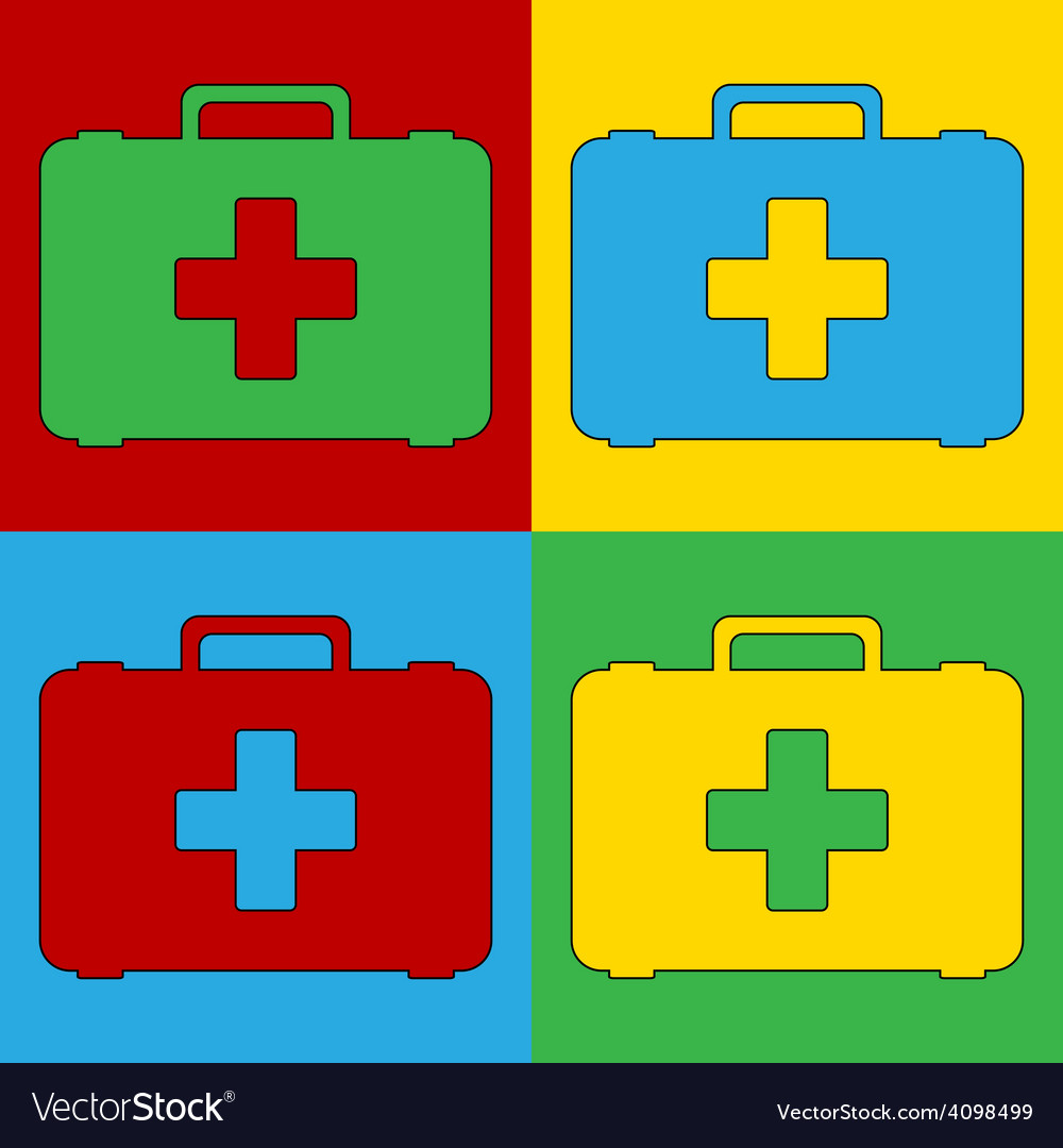 Pop art first aid icons vector   Price: 1 Credit (USD $1)