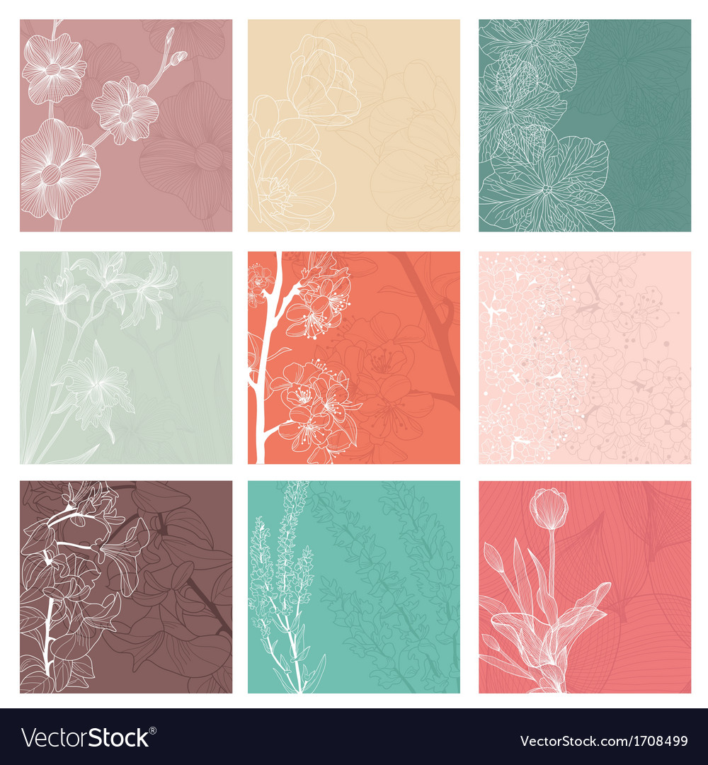Set of 9 floral invitations vector | Price: 1 Credit (USD $1)