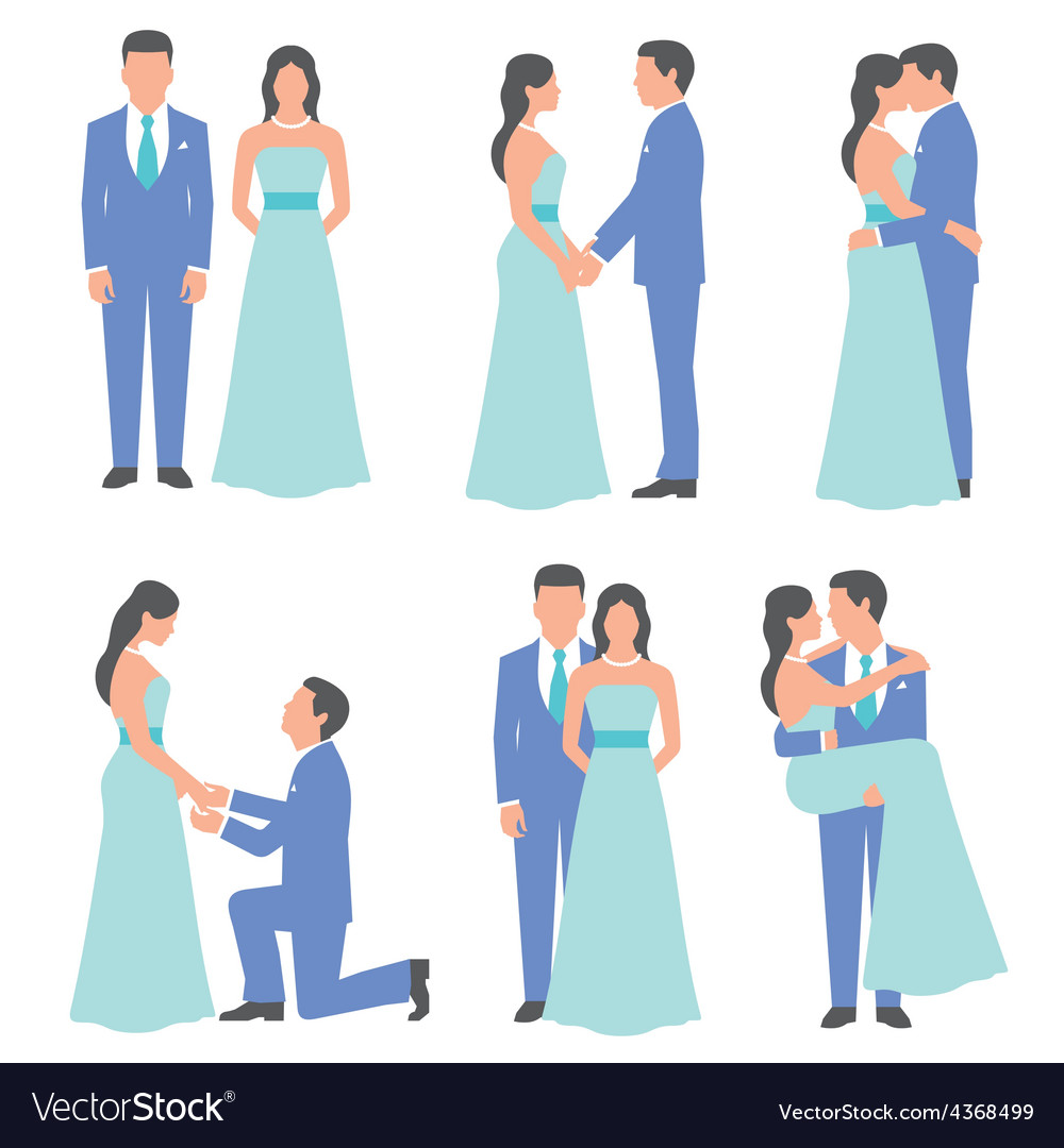 Set of bride and groom vector | Price: 1 Credit (USD $1)