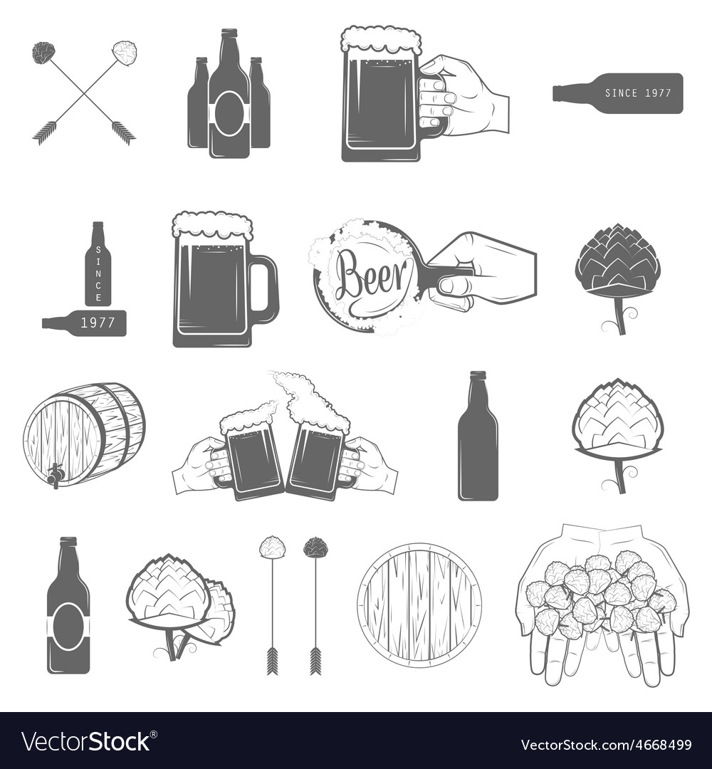 Set of two-color beer craft icons vector | Price: 1 Credit (USD $1)