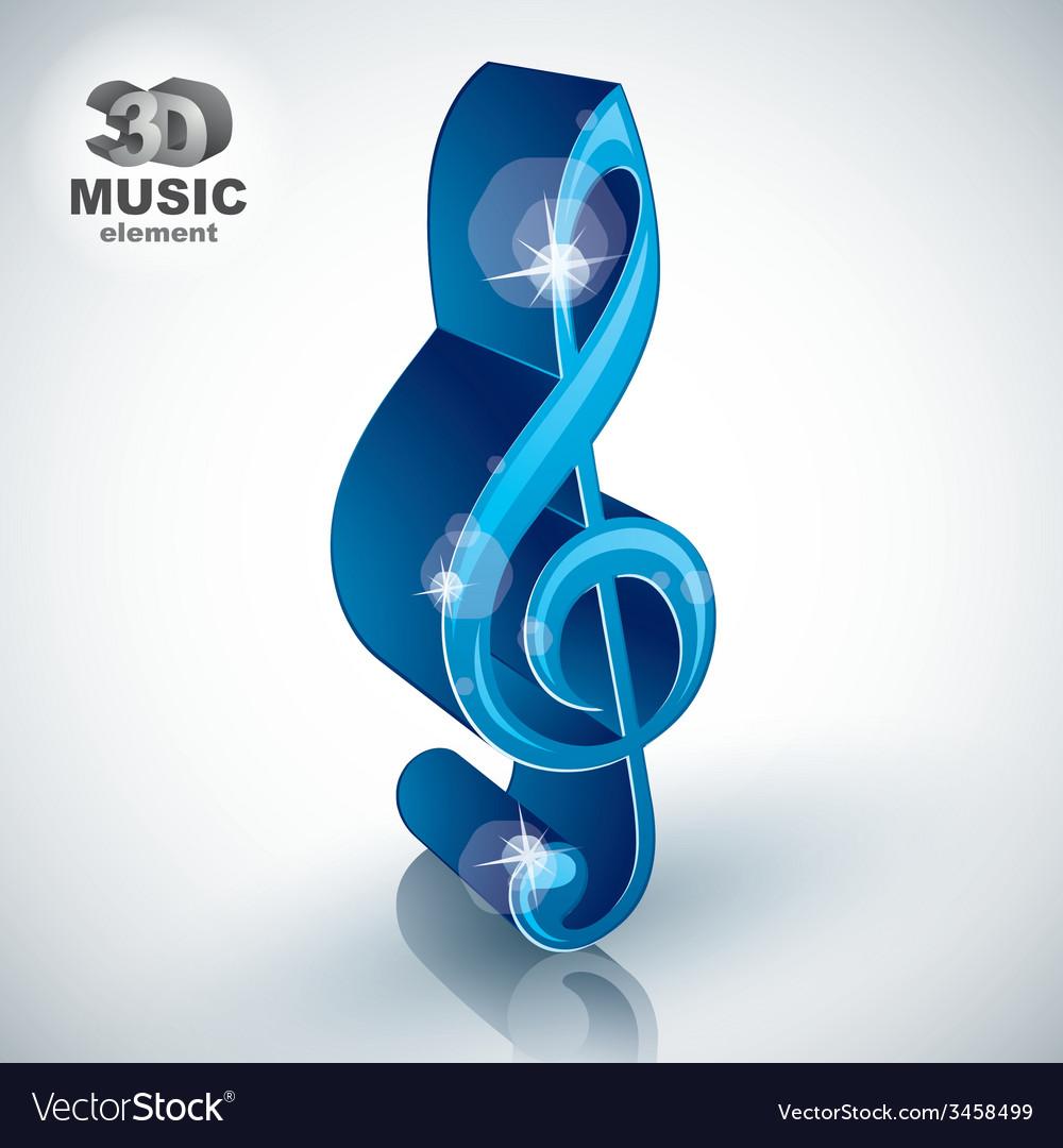 Treble clef 3d blue music design element vector | Price: 1 Credit (USD $1)