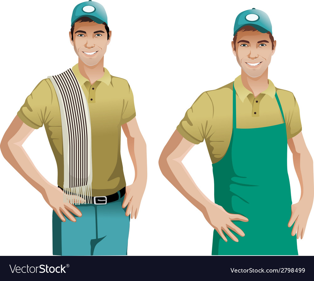 Worker wearing blue apron vector | Price: 1 Credit (USD $1)