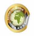 World travel round globe label vector