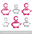 Set of hand-drawn pink piggybank icons stroke vector