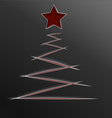 Christmas tree paper cut lines vector