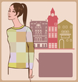 Young girl post card vector