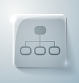 Server network glass square icon vector