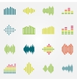 Bright music soundwave or equalizer icons set vector