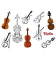 Violin music instruments set vector