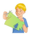 Boy is cutting color paper with scissors vector