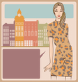 Young girl leopard dress post card vector