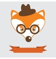 Fox in bowler hat and monocle vintage style vector