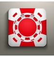 Square icon red casino chips vector
