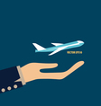 Hands holding plane vector