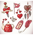 Doodle set elements of valentines day vector