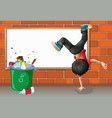 A boy breakdancing near a trash can with an empty vector