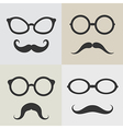 Images of glasses and mustaches vector