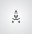 Compasses outline symbol dark on white background vector