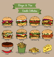 Burger and fries doodle collection vector