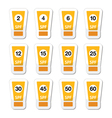 Sun cream sunblock with factor or spv icons set vector