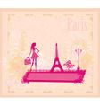 Beautiful women silhouette shopping in paris - vector