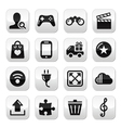 Web internet grey buttons set - vector