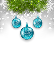 Christmas background with glass balls and fir vector