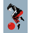 Girl ball red bird vector