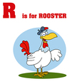 Rooster cartoon with letter vector