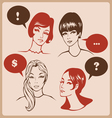 Woman characters retro comics style vector
