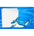 An empty paper under the sea beside a shark vector