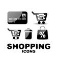 Black glossy shopping icon set vector