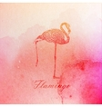 Vintage of a pink watercolor flamingo on the old vector