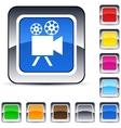 Video camera square button vector