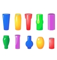 Colorful flowers vases set vector