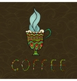 Doodle coffee cup on patterned background vector