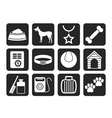 Silhouette dog accessory and symbols icons vector